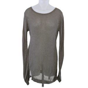 Express Taupe Holey Long Sleeve Tunic (L)
